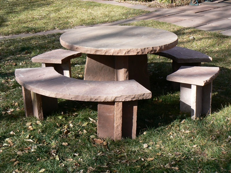 Round Sandstone Table and Bench Set