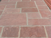 Snap Cut Paver Sidewalk with Large Mortar Joints