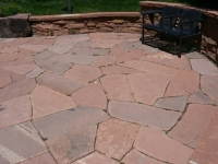 Random Flagstone Patio with Retaining Wall